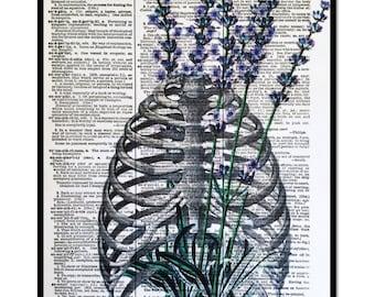 "Lavender Floral Art Print, ""Healing Body"" Lavender Print, VIntage Dictionary Page Art Print, 8x10,Lavender Decor,Lavender Healing"