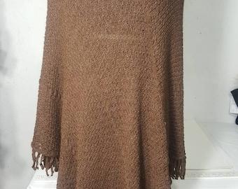 Knit Alpaca Poncho,  Drape Poncho, Suri Alpaca Poncho, Natural Brown Alpaca, L-XL