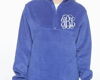 Quarter zip Fleece pullover, Monogrammed Fleece pullover, Monogram Jacket, Fleece Jacket