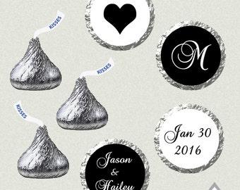 Printable Hershey Kiss Labels, Wedding Kiss Stickers, Black and white Wedding, Monogram Kisses, Wedding Kiss Favor, Hershey Kiss Stickers