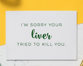 Cancer Card: Liver Cancer, Chemo Card, Illness Card, Cards for Illness, Get Well Soon, Funny Cancer Card, Encouragement Gift, Empathy Card