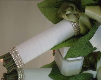 Rhinestoneand Ribbon Bridal Bouquet Holder
