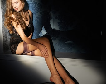 Arabella Contrast Top and Reinforced Heel and Toe Stockings