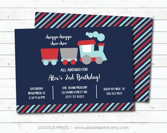 Train Invitation, Choo Choo Train Birthday Invitation, Blue Boy Train Birthday Party, Printable Digital Invite, 5x7 or 4x6