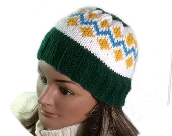 Fair Isle beanie hat, acrylic knit hat, ski hat hand knit, Icelandic knit hat, warm acrylic hat, hand knit ski cap, cold weather hat