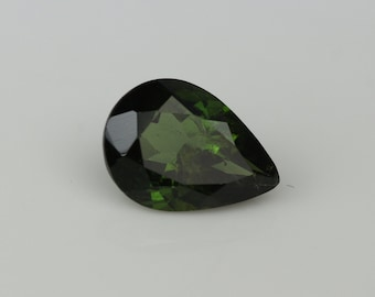 Forest green tourmaline pear,loose green tourmaline,tcw-1.7 ct