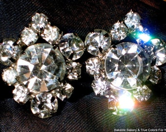 Wow Crystals Rhinestones Vintage Earrings Julianna Style Art Deco Wedding 40s 30s Marilyn Runway Glitzy VLV Hand Prong Set Hollywood Prom