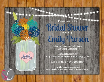 Rustic Wood Floral Glass Jar with Lights Fall Autumn Bridal Shower Invite Navy Teal Orange Flowers (325)