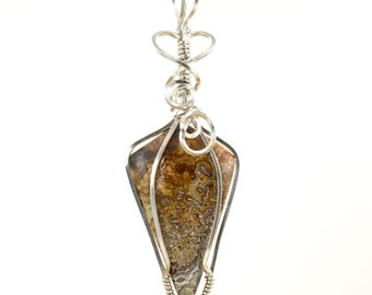 Crazy Lace Agate Pendant - Wire Wrapped Pendant - Crazy Lace Agate Necklace - Argentium Sterling Wire Wrap Agate Jewelry