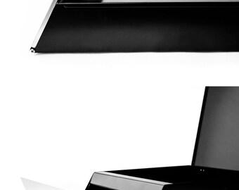 Black modern mailbox made from Steel.  Durable mail box from steel. Black mailbox. Gray mailbox / stainless steel mailbox