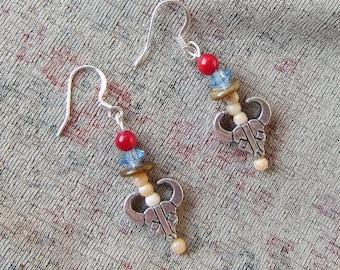 SouthWest STEER SKULL Silver Plated Metal Charm Beaded Dangle Earrings