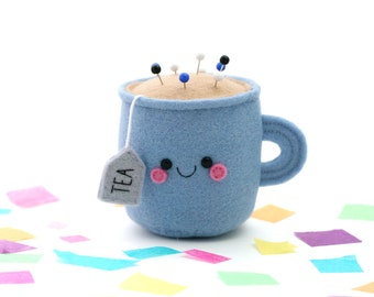 Blue Teacup Pincushion, 3D Tea Accessory, Kawaii Pincushion, Sewing Gift, Craft Supply