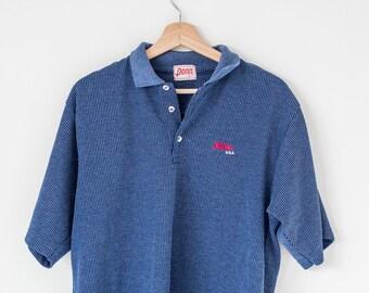 Vintage blue mens polo top, size medium/large, Penn tennis shirt.