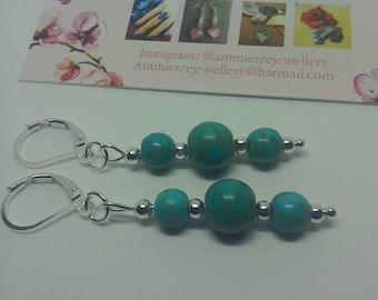 Turquoise earrings /beaded french lever earrings/ lever back earrings / blue stone earrings / elegant earrings