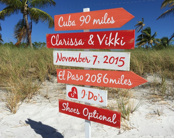 Beach Wedding Decor, Directional Wooden sign Shoes Optional I Do's, Coral signage for Wedding Gift.
