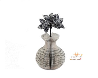 Mini Book Art Vase with Origami Kusudama Flowers - 1st - 4th  anniversary gift -  mothers day gift - house warming gift - new home