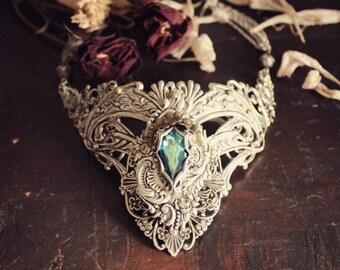 Fantasy Swarovski, Silver & Brass Collar - Necklace - Choker - Lace - Bermuda Blue - Unique - Summer - Fall - September - Wedding - Bridal