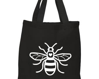 Manchester Bee Shopping Bag for Life BLACK 100% Cotton White Heart