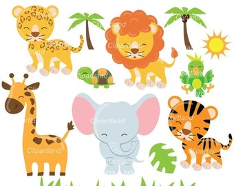 ON SALE INSTANT Download. Jungle animals clip art. Can_43. Personal and commercial use.