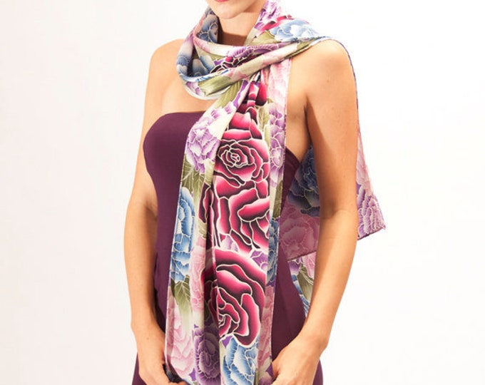 Flowers fashion luxury hand painted silk scarf with red roses