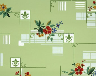 1940s Vintage Wallpaper by the Yard - Red Flowers on Deco Green Kitchen Geometric