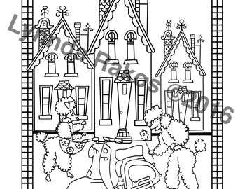 Printable Coloring Page Poodles in Paris an Adult Coloring Page