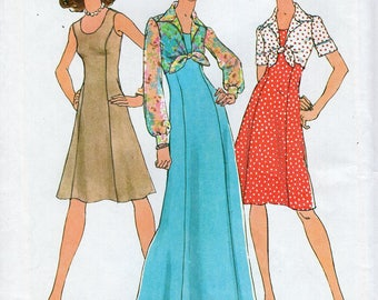 FREE US SHIP Simplicity 8761 Retro 1970's 70's Evening Length Dress Sheer Tie Bolero Jacket Size 6-8 Bust 30 31 Sewing Pattern ff Uncut