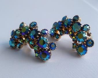 WEISS Clip On Earrings Vintage Costume Jewelry Blue AB Rhinestones 1950s