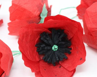 Red poppies, paper poppies, red paper poppies, red papaver, Papaver, red flowers, paper flowers, artificial flowers, flower decorations, red