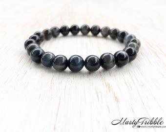 Hawk's Eye Bracelet, Blue Tiger's Eye Bracelet, Mens Bracelet, Gemstone Bracelet, Men Jewelry, Healing Crystal Bracelet, Mala Beads Bracelet