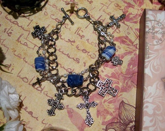 Crosses multi-strand charm bracelet in silver-tone base metal and Czech glass faith christianity