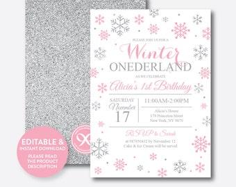 Instant Download, Editable Winter Onederland Birthday Invitation, Winter Wonderland Invitation, First Birthday, Pink and Silver (GKB.02)