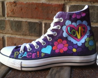 Converse Shoes, Converse High Tops, Peace Signs and Love Hippie Style Chuck Taylors, Funky Tennis Shoes, Women, Girlfriend Gift, Daughter