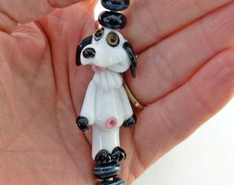 DOG Black and White Dog Glass Bead Set,  lampwork glass bead, whimisical lampwork focal bead, Izzybeads SRA
