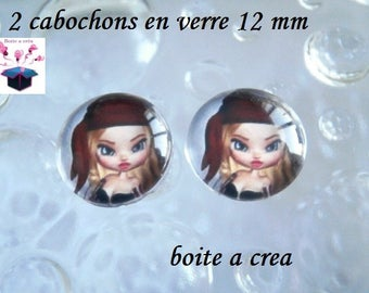 2 glass cabochons 12 mm for loop or ring miss pirate theme