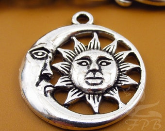 5 Sun And Moon Charms 30mm Wholesale Antiqued Silver Plated Celestial Pendants SC0081703