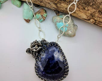 sodalite flower sterling silver necklace