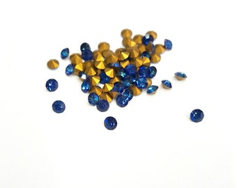 50 Pieces Bermuda Blue Swarovski Chatons, Article #1100, Vintage, 31pp Round