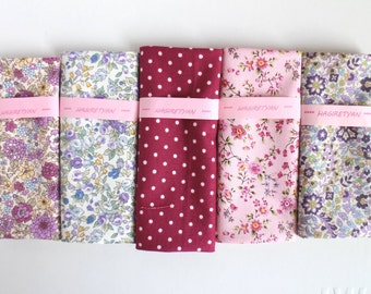 "5"" x 5""  5 FLORAL Japanese fabric Patchwork Charm Squares purple No.23"