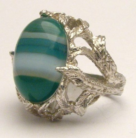 Green White Sardonyx Onyx Cab Gemstone Solid Sterling Silver Ring.   Custom Sized to fit you.