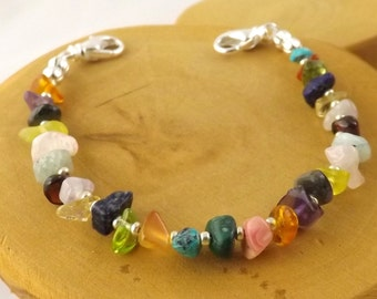 EXTRA SMALL Multi stone multicolor medical alert bracelet size 5 five inches