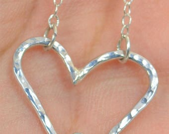 Aquamarine Heart Necklace, Sterling Silver, Mothers Necklace, March Birthstone Necklace, Aquamarine Necklace, Mother Necklace, Heart Pendant
