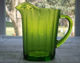 Vintage Green Glass Pitcher, Water/Iced Tea/Juice Pitcher
