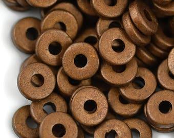 8mm Washer Round - Antique Brass - Mykonos Greek Ceramic Beads - QTY: 50 or 100