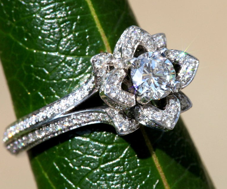 UNIQUE Flower Rose Diamond Engagement Ring blooming 2 rows