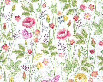 4 Decoupage Napkins, Paper Napkin for Decoupage, Meadow Flowers, Craft Napkin, Flower Napkin, Decoupage Napkin, Decoupage Paper