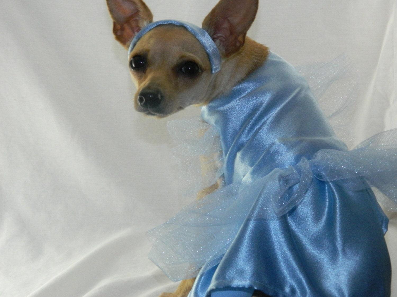 Cinderella princess dog costume with headband XXS-M