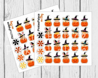 20 Jack O Lanterns with Cute Animals peeking out Halloween Planner Stickers eclp PS122 Fits Erin Condren Planners