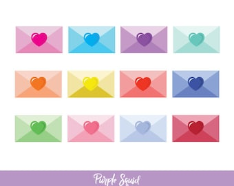 Envelopes Digital Clipart (Letter Clipart, Love Note Clipart, Hearts Clipart, Commercial Use)