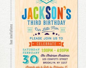 3rd birthday party invitations for boys, third birthday printable invitation printable, our litte man birthday, green navy blue orange lime